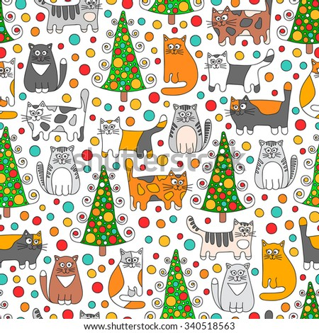 Winter cats. Vector seamless pattern with doodle cats, dots and christmas spruce. Retro colors - grey, green, orange, red and white.