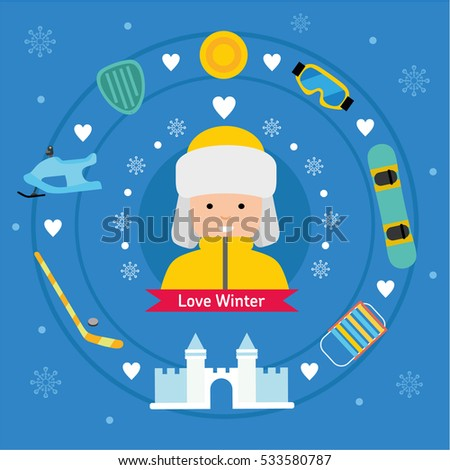 Winter flat sports icons. Boy with winter vacation items concept. Sun, snow fortress, hockey stick, sleds, snowboard, snowmobile, safety glasses and winter scooter web icon set