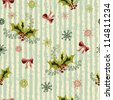 Winter holidays seamless pattern with holly branches, red bows and fantasy snowflakes - stock vector