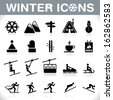 Winter Icons Set - Ski sport - VECTOR - stock