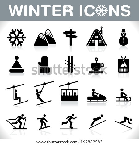 Winter Icons Set - Ski sport - VECTOR