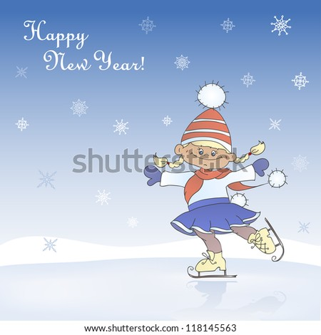 Winter, new year, christmas card with cartoon girl skating. Light background with snow and ice-rink.