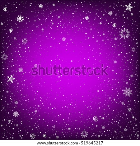 Winter purple background with snow. Christmas and New Year backdrop