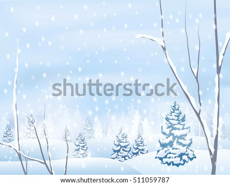 winter snowy forest scenery,  vector illustration