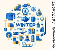 Winter sport and leisure set: games on a fresh air, winter sports, sweater, skates, snow truck, snowflake, Christmas tree toy, coffee, tea pot, thermometer, sleigh, sock. Flat Vector illustration.  - stock photo