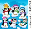 Winter theme with penguins 2 - vector illustration. - stock vector