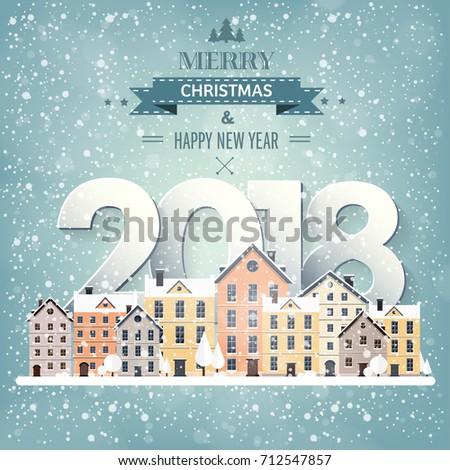 Winter Urban Landscape City Snow Christmas Stock Vector 712547818 ...