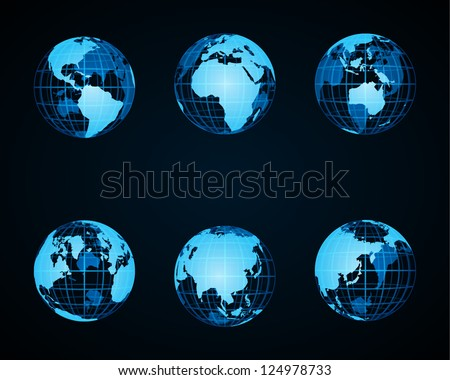 Wire globe earth icon set vector design elements