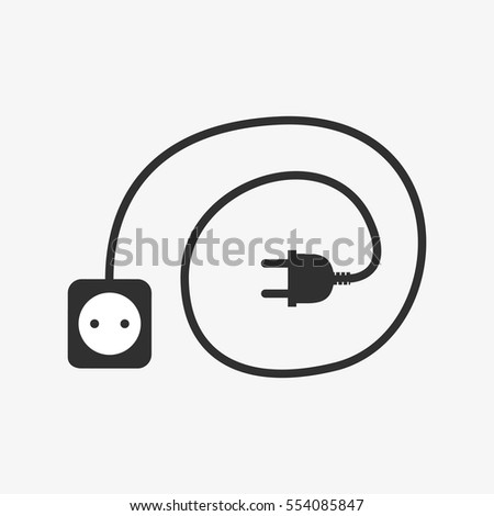 Wire plug and socket icon. Vector illustration. Plug, socket and cord in flat design. Concept of connection and disconnection of the electricity.