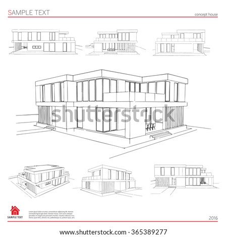 Architecture Drawing Template wireframe blueprint drawing 3d building vector stock vector