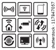 Wireless technology web icons set - stock photo
