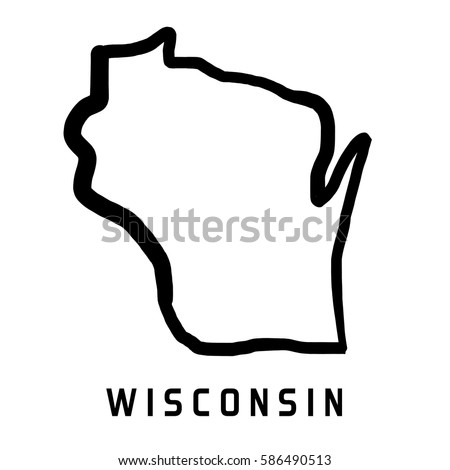 Wisconsin Map Outline Smooth Simplified Us Stock Vector - Wisconsin on a us map