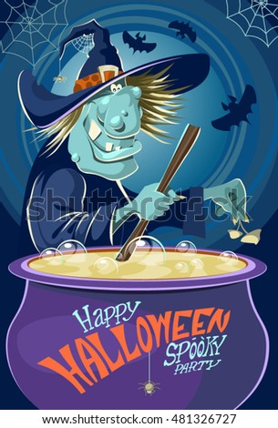 Witch crafting pot. Halloween cardposter. Vector illustration.