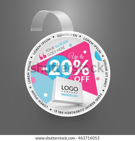 Wobbler design template. Sale event. Vector illustration with paper bag.