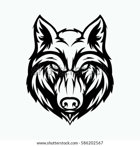 wolf head angry face logo red stock vector 586202561