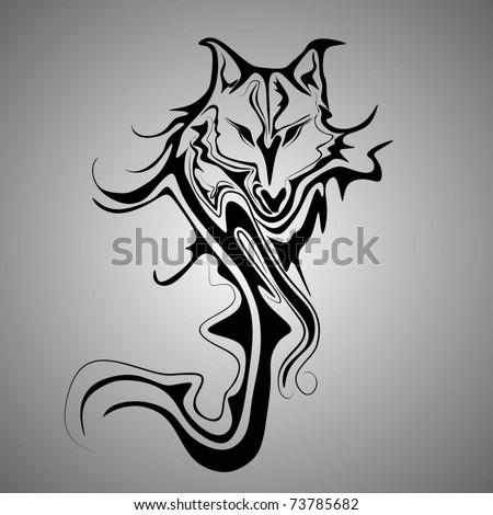 wild wolf tattoo stock vector 73425310 shutterstock. Black Bedroom Furniture Sets. Home Design Ideas