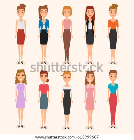 Set business woman character office work stock vector for Character designer job