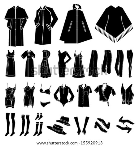 woman clothes, shoes and accessories vector