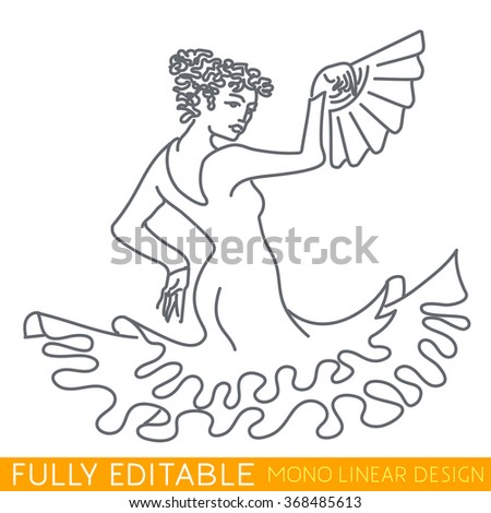Woman dancing flamenco or Paso Doble. Modern thin line logo concept. Passionate Carmen. Fully editable curves. Mono linear pictogram of outline symbol. Stroke vector icon concept.
