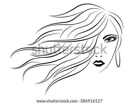 Woman head with wavy hair line art silhouette vector illustration