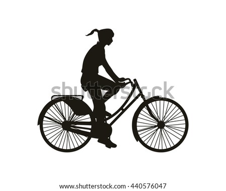 Woman on bicycle. Black on white silhouette