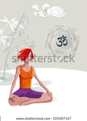 yoga meditation in padmasana lotus posewoman in red
