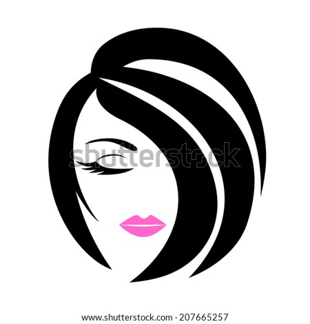 Women Short Hair Style Icon Logo Stock Vector 456650377