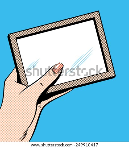 Woman's Hand Holding Picture Frame - Separate dot and solid color layers