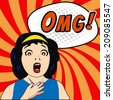 Woman say OMG! with Comic Speech Bubbles - stock photo