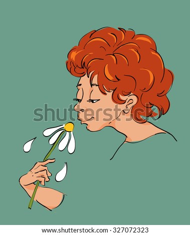 woman selflessly smells a white flower
