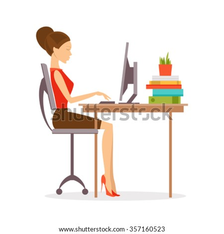 Woman sitting at a computer in the correct position