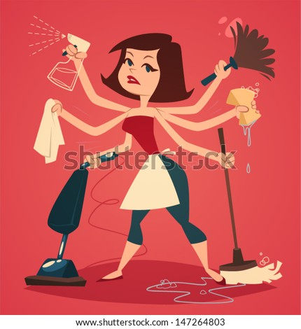 Woman washing and cleaning. Household series vector illustration ...