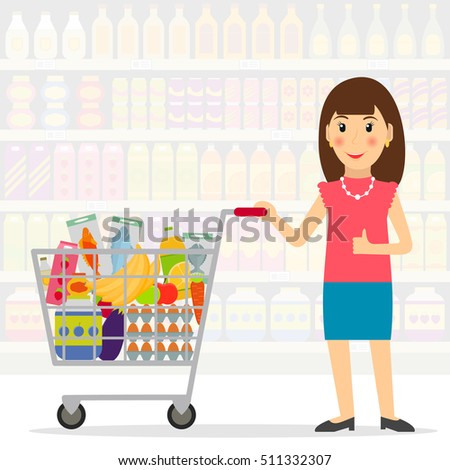 Woman with shopping cart with foods in the supermarket or grocery store. Female shopper. EPS10 vector illustration in flat style.