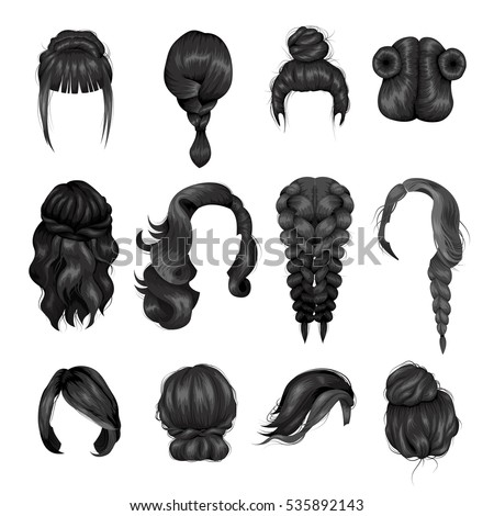 Women Hairstyle Wigs False Natural Hair Stock Vector