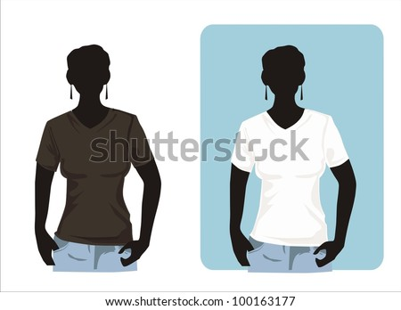 Women's shirt template with human body silhouette