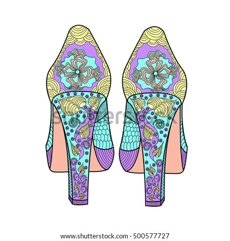 Women's shoe with a beautiful pattern. Freehand sketch with doodle element. Print on T-shirts, banners, posters, covers. Coloring page book for adults and children.