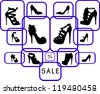 Women's shoes in different shape at the shop on sale silhouette - stock vector