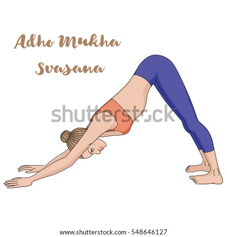 Women silhouette. Adho mukha svanasana. Downward dog. Vector illustration.