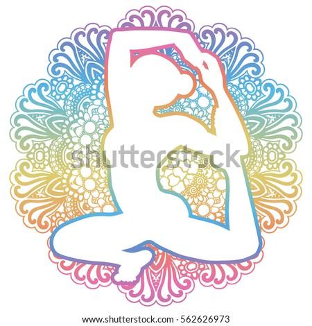 women silhouette mermaid yoga pose eka stock vector