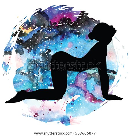 women silhouette on galaxy astral watercolor stock vector