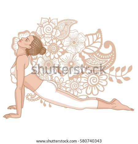women silhouette upward bow wheel yoga stock vector
