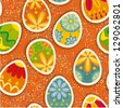 Wonderful ornamental eggs for Easter. Easter card SEAMLESS PATTERN - stock vector