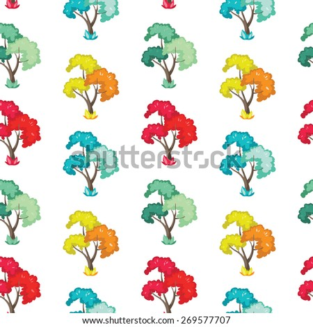 wonderful seamless pattern of trees in autumn, spring, winter and summer. illustration wallpaper, white background.