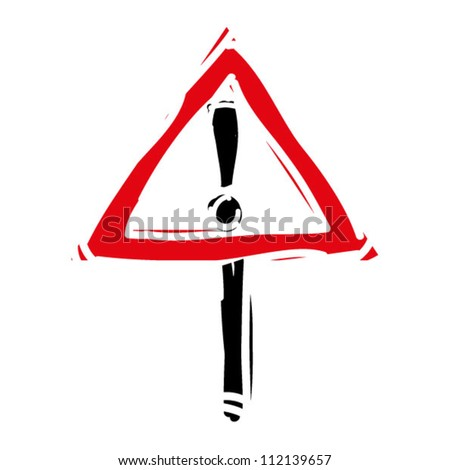 "woodcut engrave illustration of road sign ""attention"""