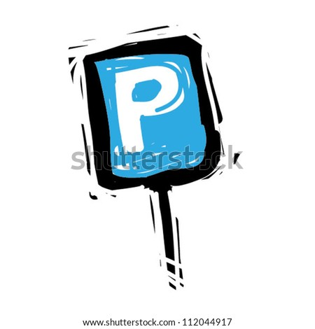 Woodcut engrave illustration of road sign parking