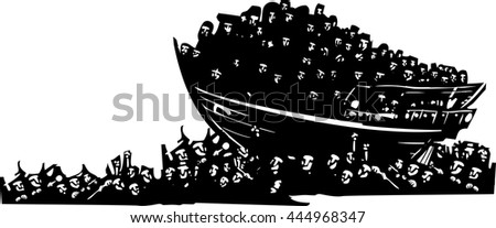 Woodcut style expressionist images of a boat of refugees on a sea of humanity