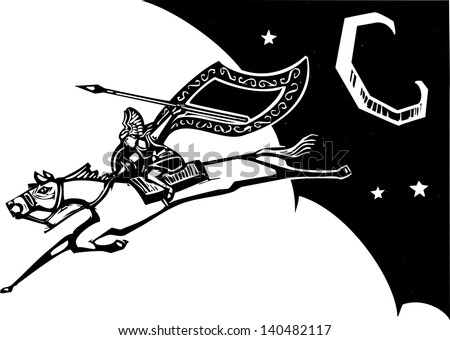 Woodcut style image of a Norse Valkyrie riding a horse and flying in the sky.
