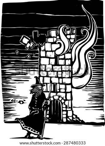 Woodcut style image of a wizard standing in front of burning castle tower.