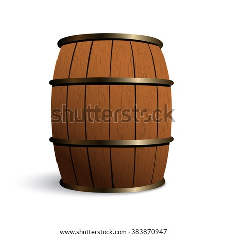 Wooden barrel for wine with iron rings. Isolated on white background
