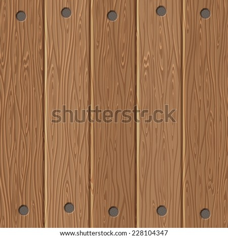 Wooden Board Texture with Nails. Vector background.